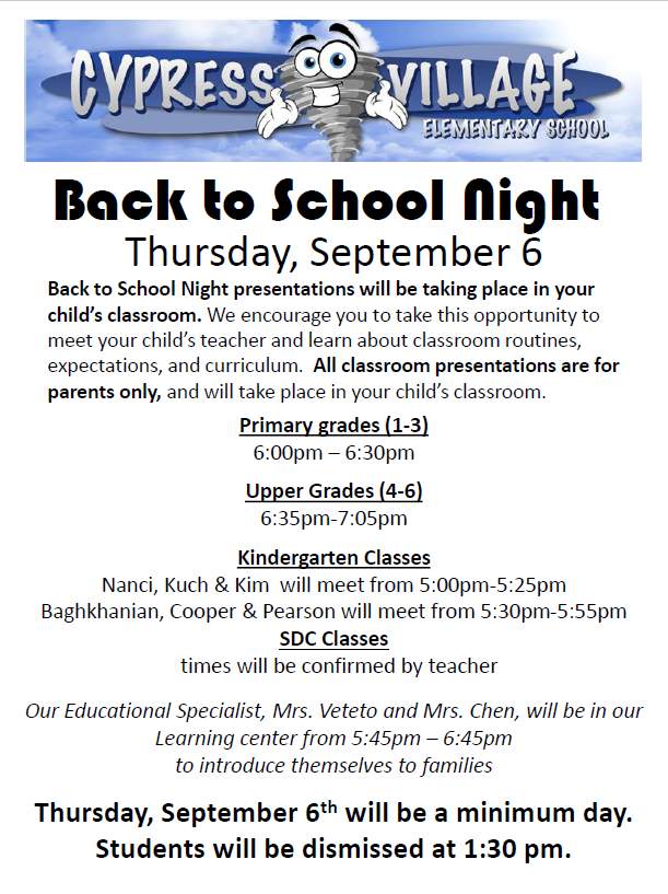 Back To School Night Flyer Minimum Day 1 30 Dismissal