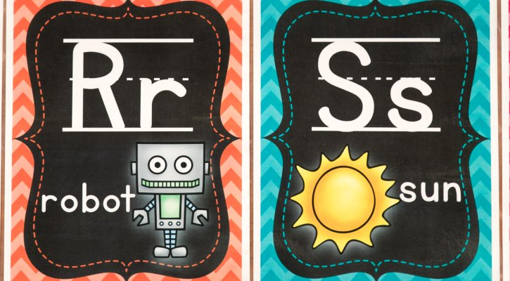 Letter Cards, R for Robot and S for Sun